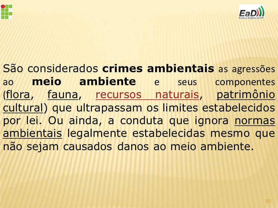 São considerados crimes ambientais as agressões ao meio ambiente e seus componentes (flora, fauna, recursos naturais, patrimônio cultural) que ultrapassam os limites estabelecidos por lei.
