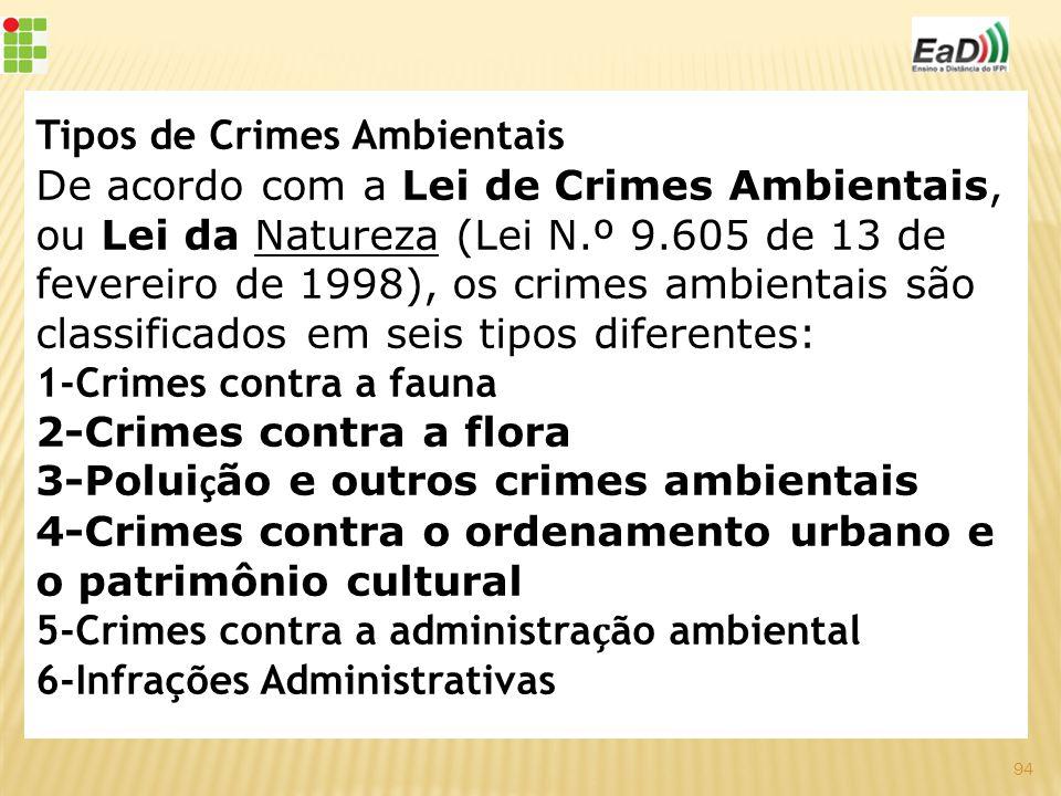 Tipos de Crimes Ambientais