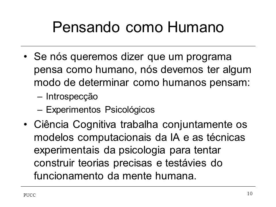 Pensando como Humano Se nós queremos dizer que um programa pensa como humano, nós devemos ter algum modo de determinar como humanos pensam: