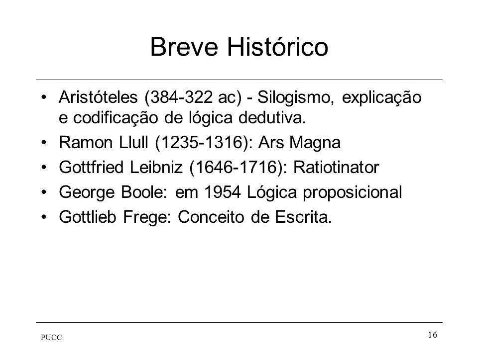 Breve Histórico Aristóteles (384-322 ac) - Silogismo, explicação e codificação de lógica dedutiva. Ramon Llull (1235-1316): Ars Magna.