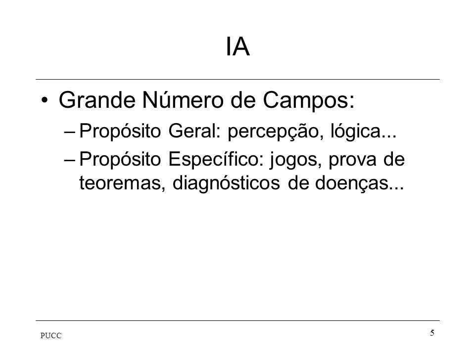 IA Grande Número de Campos: Propósito Geral: percepção, lógica...