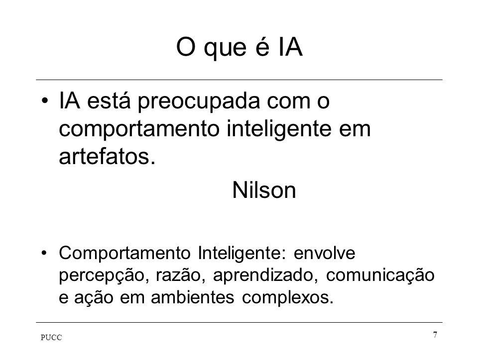 O que é IA IA está preocupada com o comportamento inteligente em artefatos. Nilson.