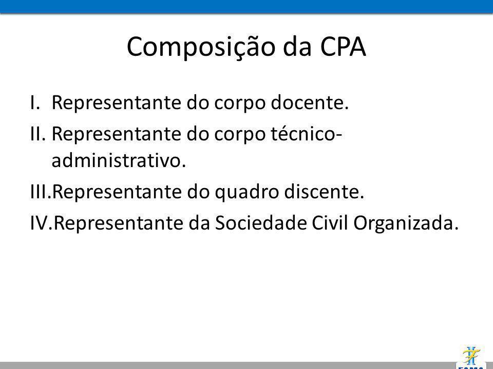 Composição da CPA Representante do corpo docente.
