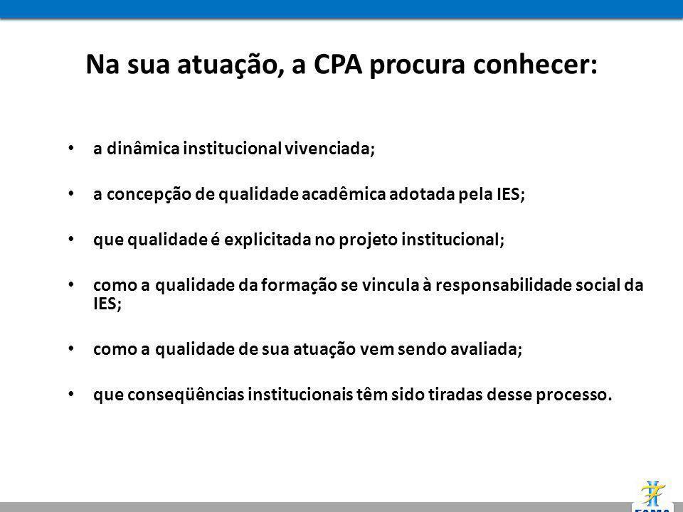Na sua atuação, a CPA procura conhecer: