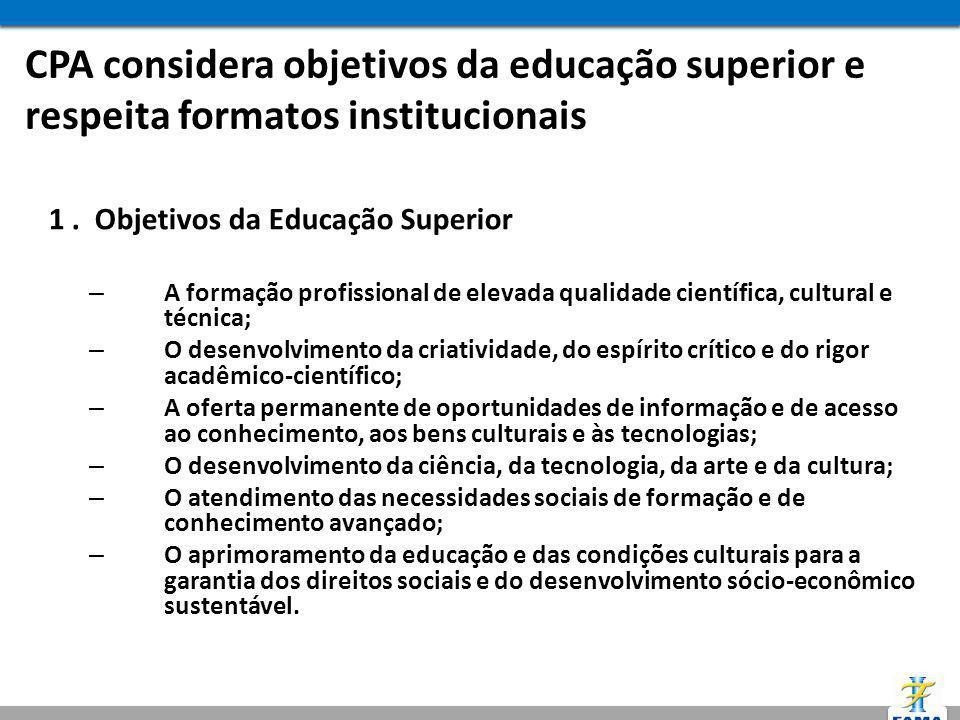 CPA considera objetivos da educação superior e respeita formatos institucionais