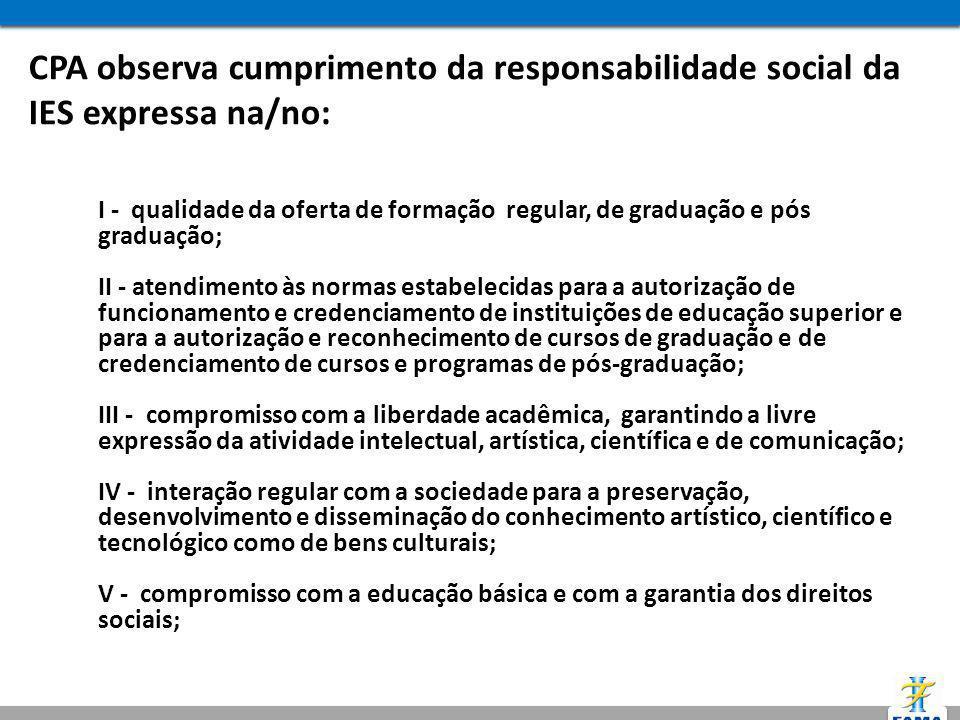 CPA observa cumprimento da responsabilidade social da IES expressa na/no: