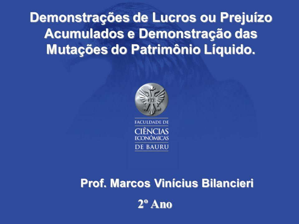 Demonstrações de Lucros ou Prejuízo Acumulados e Demonstração das Mutações do Patrimônio Líquido.