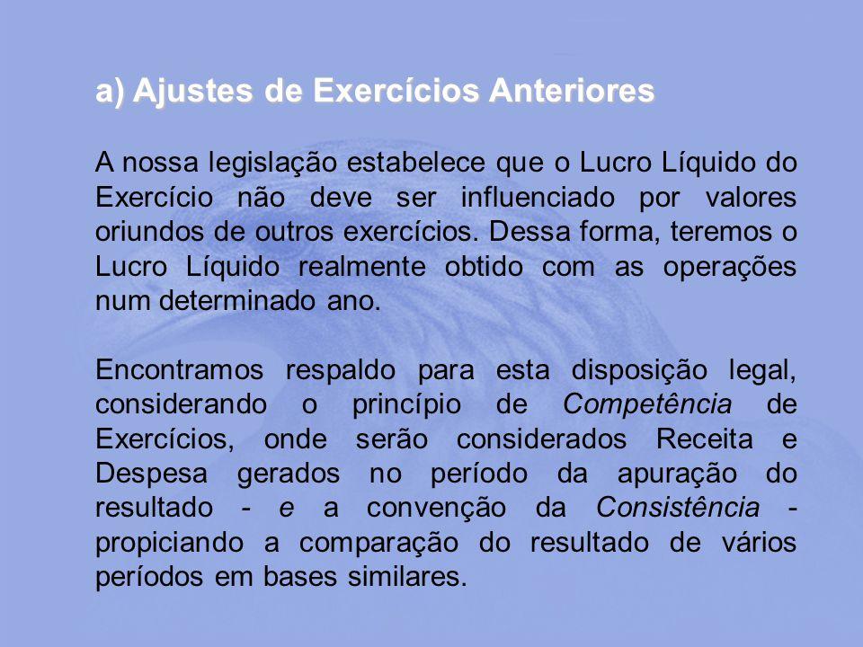 a) Ajustes de Exercícios Anteriores