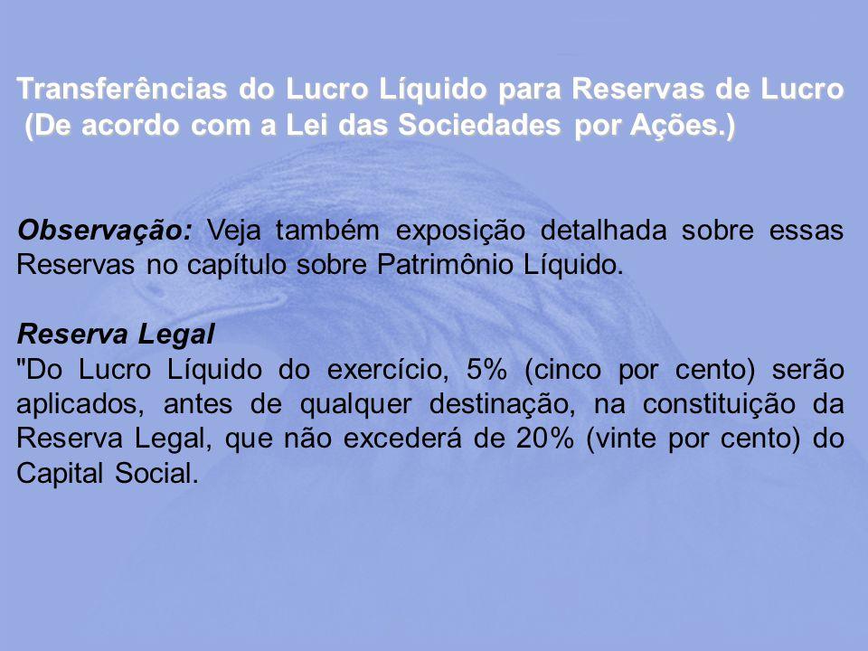 Transferências do Lucro Líquido para Reservas de Lucro (De acordo com a Lei das Sociedades por Ações.)