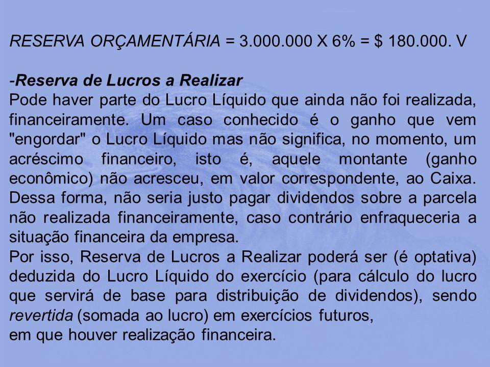 RESERVA ORÇAMENTÁRIA = 3.000.000 X 6% = $ 180.000. V