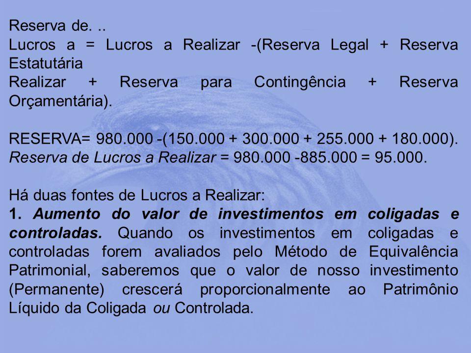 Reserva de. .. Lucros a = Lucros a Realizar -(Reserva Legal + Reserva Estatutária. Realizar + Reserva para Contingência + Reserva Orçamentária).
