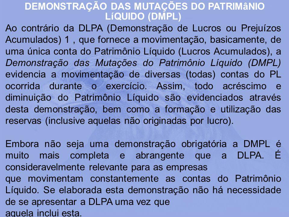 DEMONSTRAÇÃO DAS MUTAÇÕES DO PATRIMâNIO LíQUIDO (DMPL)