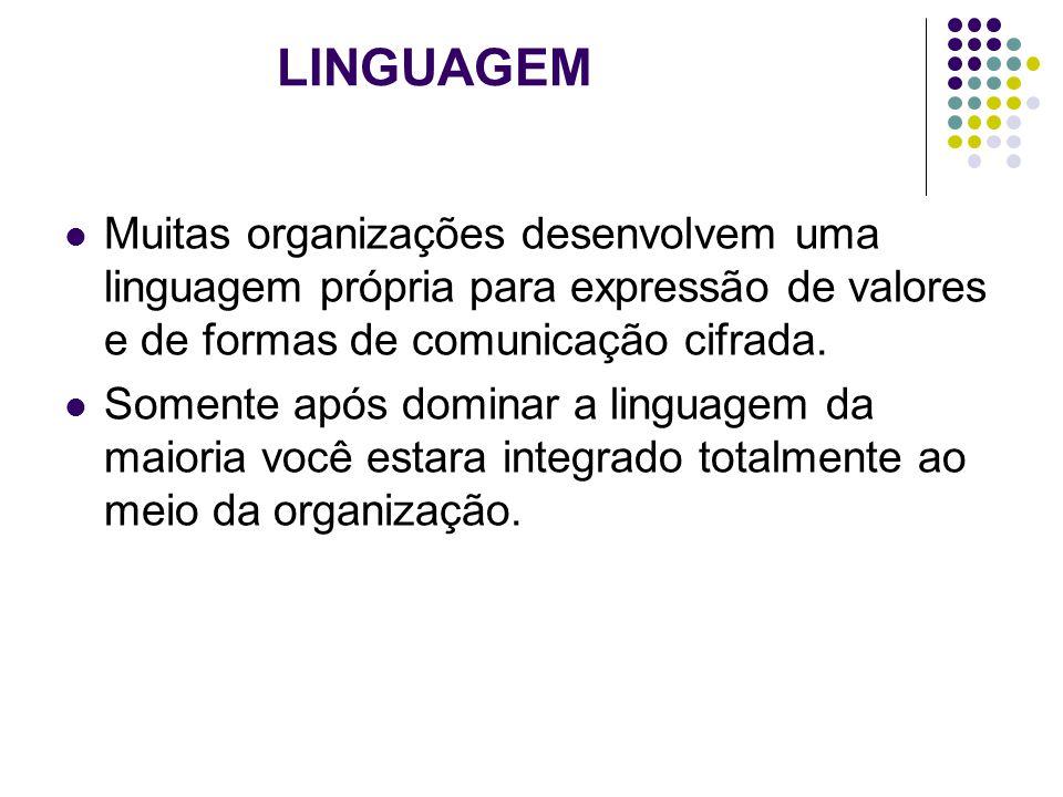 LINGUAGEM Muitas organizações desenvolvem uma linguagem própria para expressão de valores e de formas de comunicação cifrada.