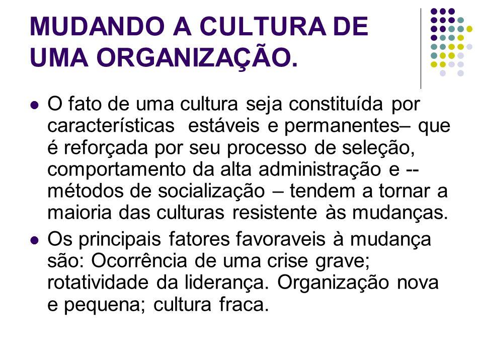 MUDANDO A CULTURA DE UMA ORGANIZAÇÃO.