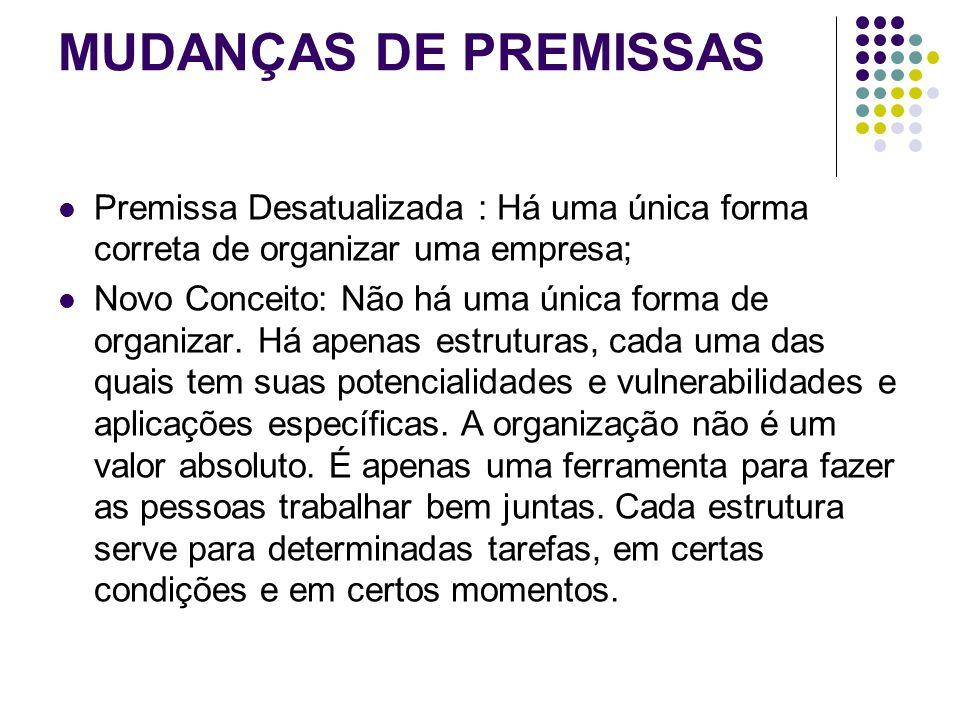 MUDANÇAS DE PREMISSAS Premissa Desatualizada : Há uma única forma correta de organizar uma empresa;