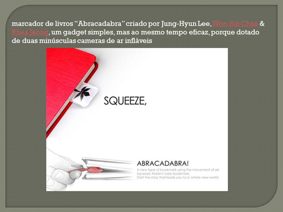 marcador de livros Abracadabra criado por Jung-Hyun Lee, Won-Sik Chae & Rhea Jeong, um gadget simples, mas ao mesmo tempo eficaz, porque dotado de duas minúsculas cameras de ar inflàveis
