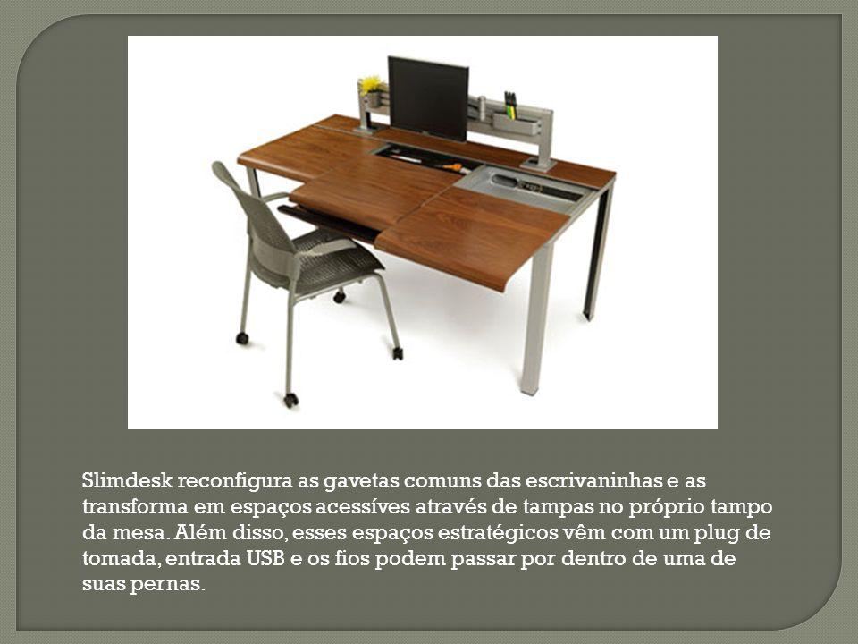 Slimdesk reconfigura as gavetas comuns das escrivaninhas e as transforma em espaços acessíves através de tampas no próprio tampo da mesa.