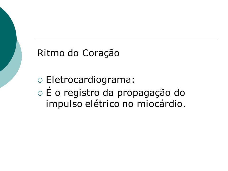 Ritmo do Coração Eletrocardiograma: É o registro da propagação do impulso elétrico no miocárdio.