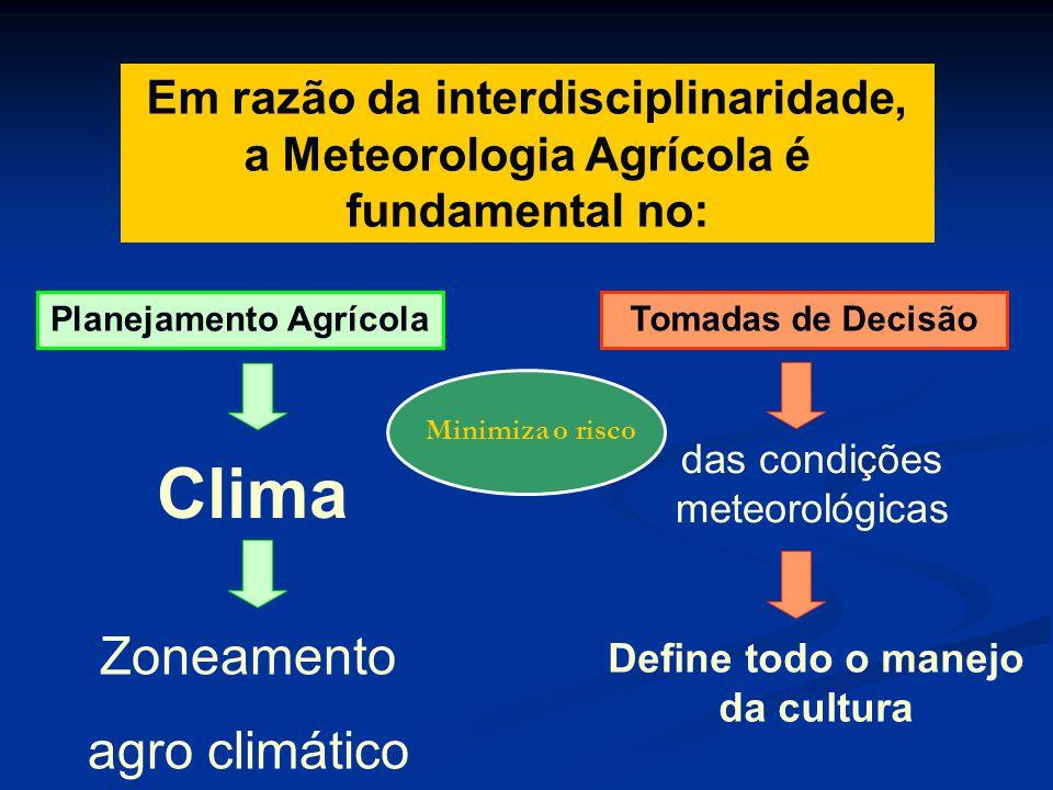 Planejamento Agrícola Define todo o manejo da cultura