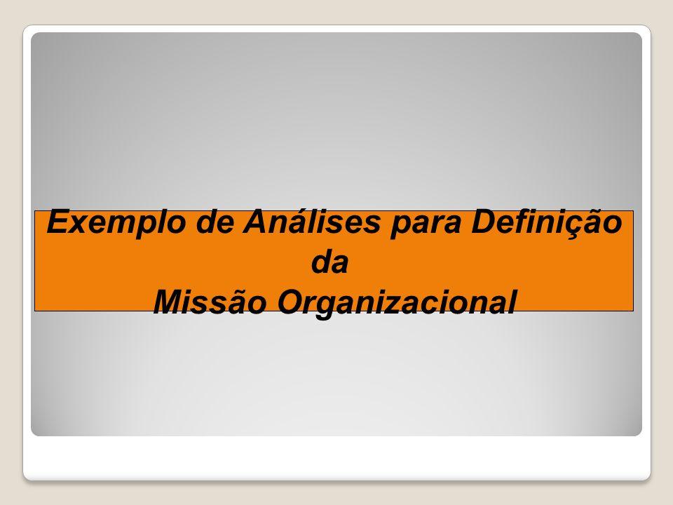 Exemplo de Análises para Definição Missão Organizacional