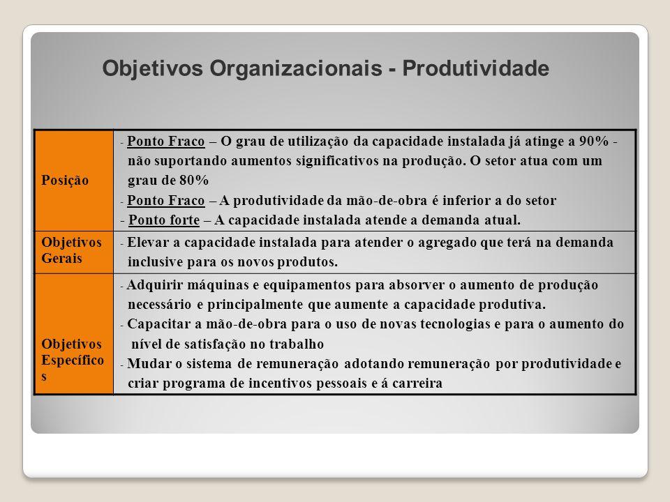 Objetivos Organizacionais - Produtividade