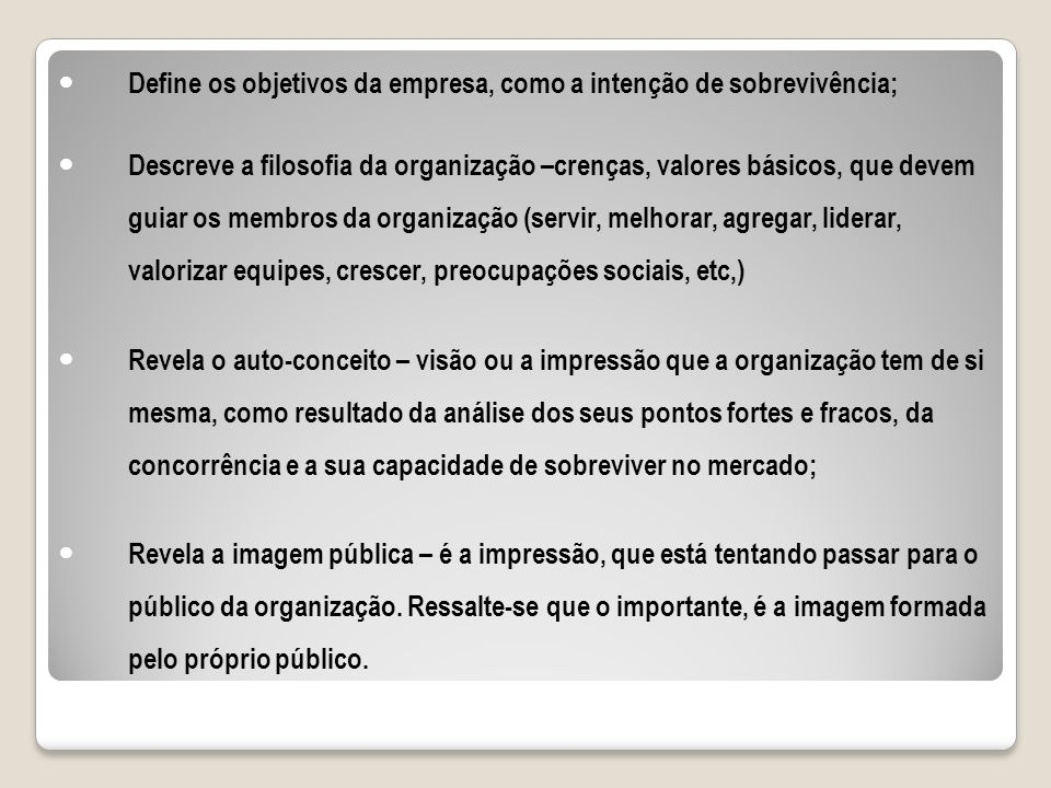 Define os objetivos da empresa, como a intenção de sobrevivência;