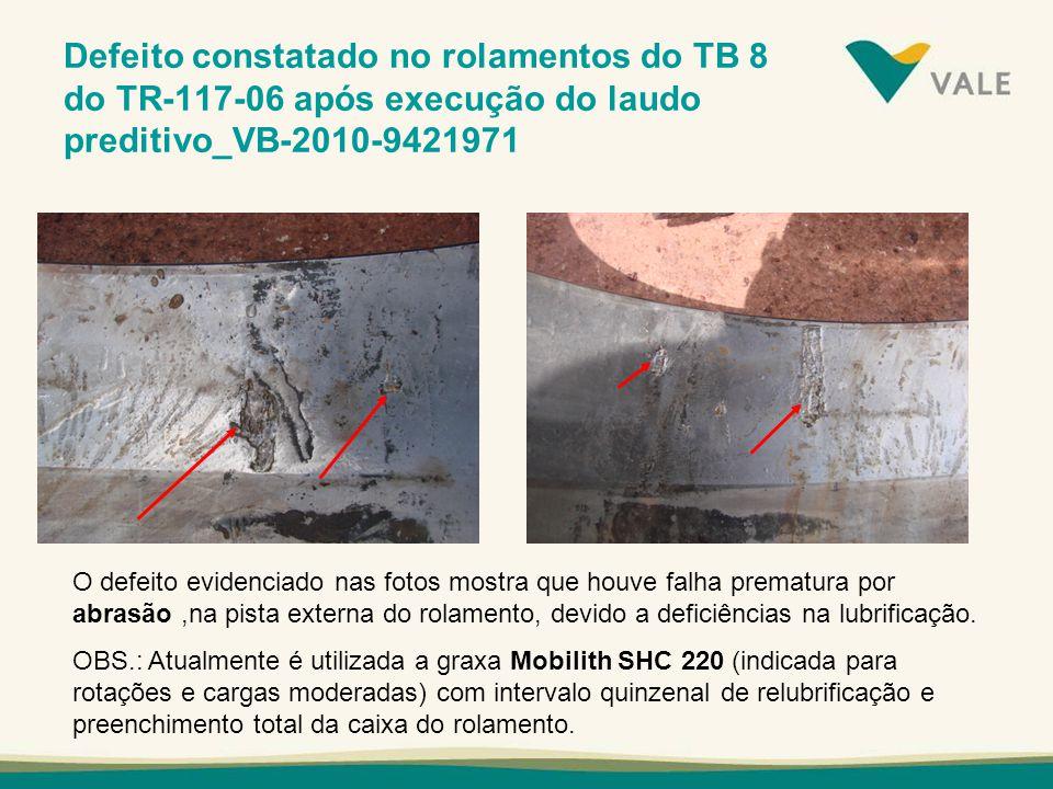 Defeito constatado no rolamentos do TB 8 do TR-117-06 após execução do laudo preditivo_VB-2010-9421971
