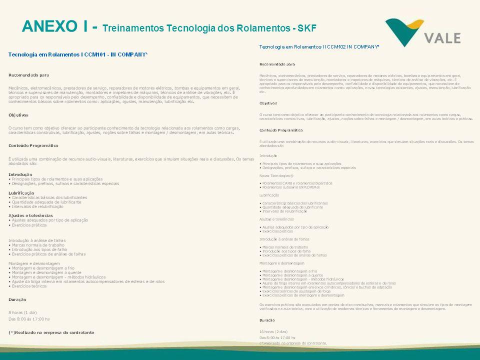 ANEXO I - Treinamentos Tecnologia dos Rolamentos - SKF