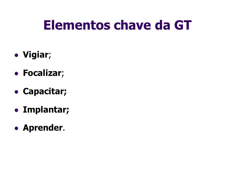 Elementos chave da GT Vigiar; Focalizar; Capacitar; Implantar;