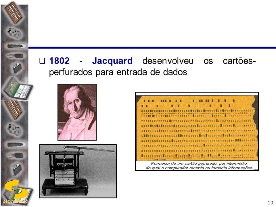 1802 - Jacquard desenvolveu os cartões-perfurados para entrada de dados