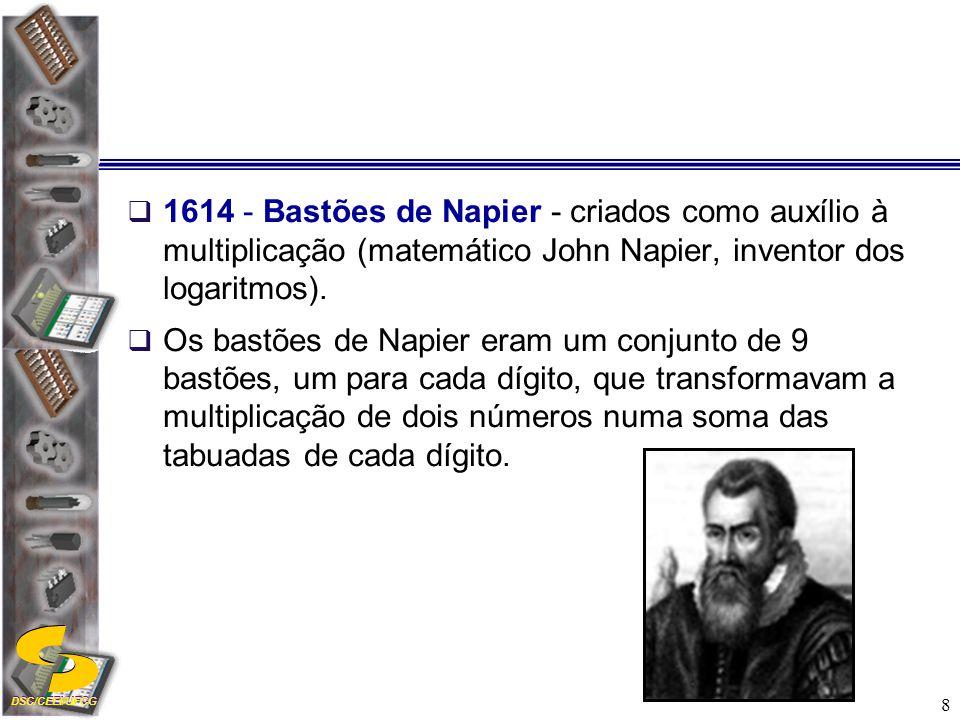 1614 - Bastões de Napier - criados como auxílio à multiplicação (matemático John Napier, inventor dos logaritmos).