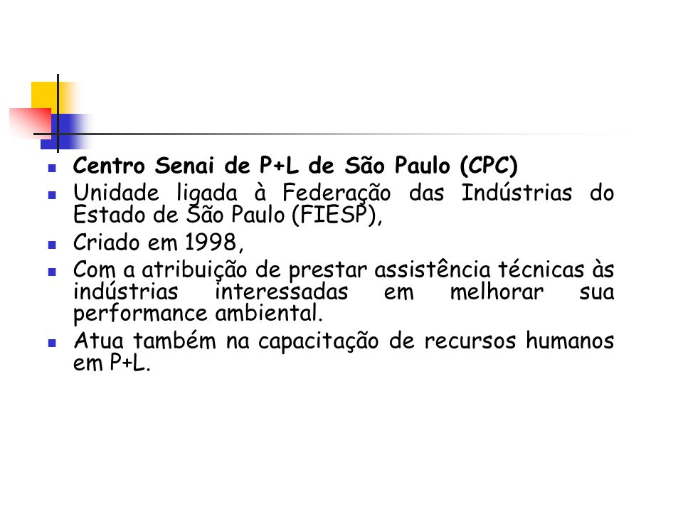 Centro Senai de P+L de São Paulo (CPC)