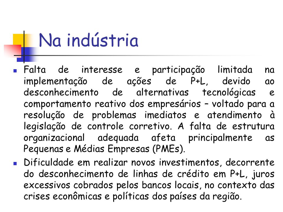 Na indústria