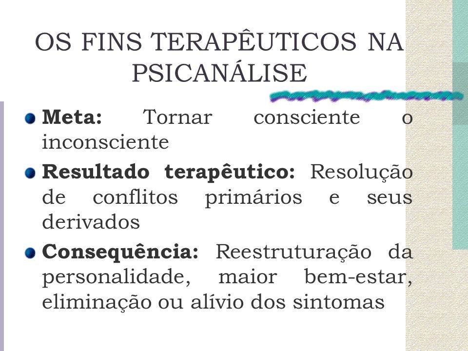 OS FINS TERAPÊUTICOS NA PSICANÁLISE