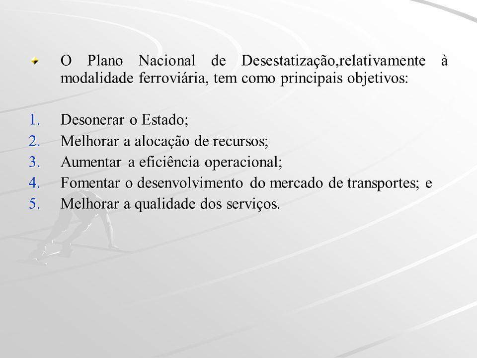 O Plano Nacional de Desestatização,relativamente à modalidade ferroviária, tem como principais objetivos: