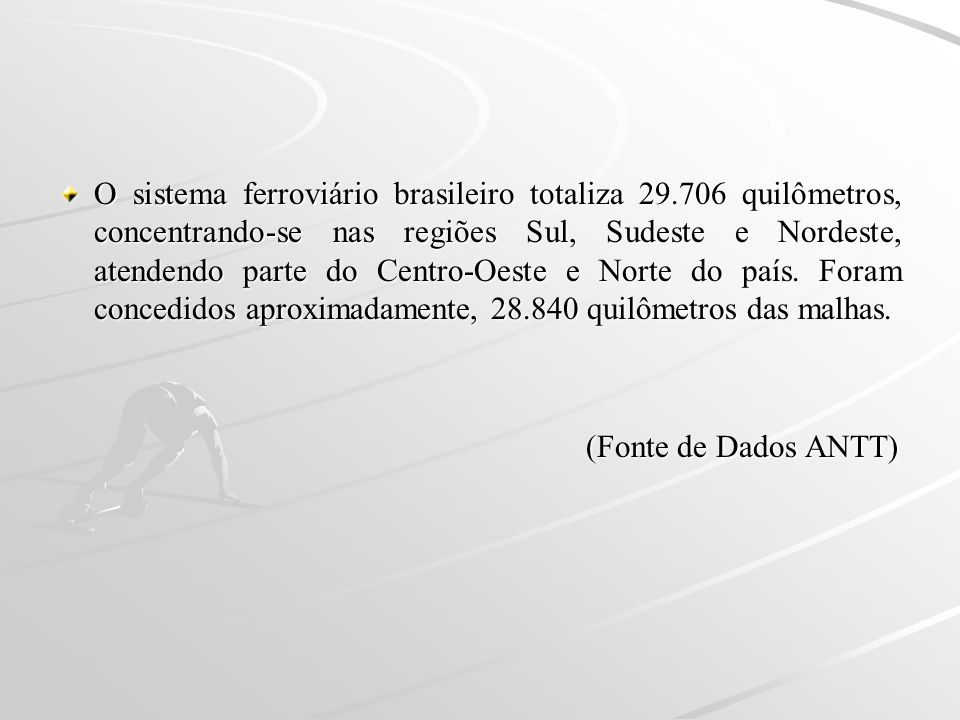 O sistema ferroviário brasileiro totaliza 29