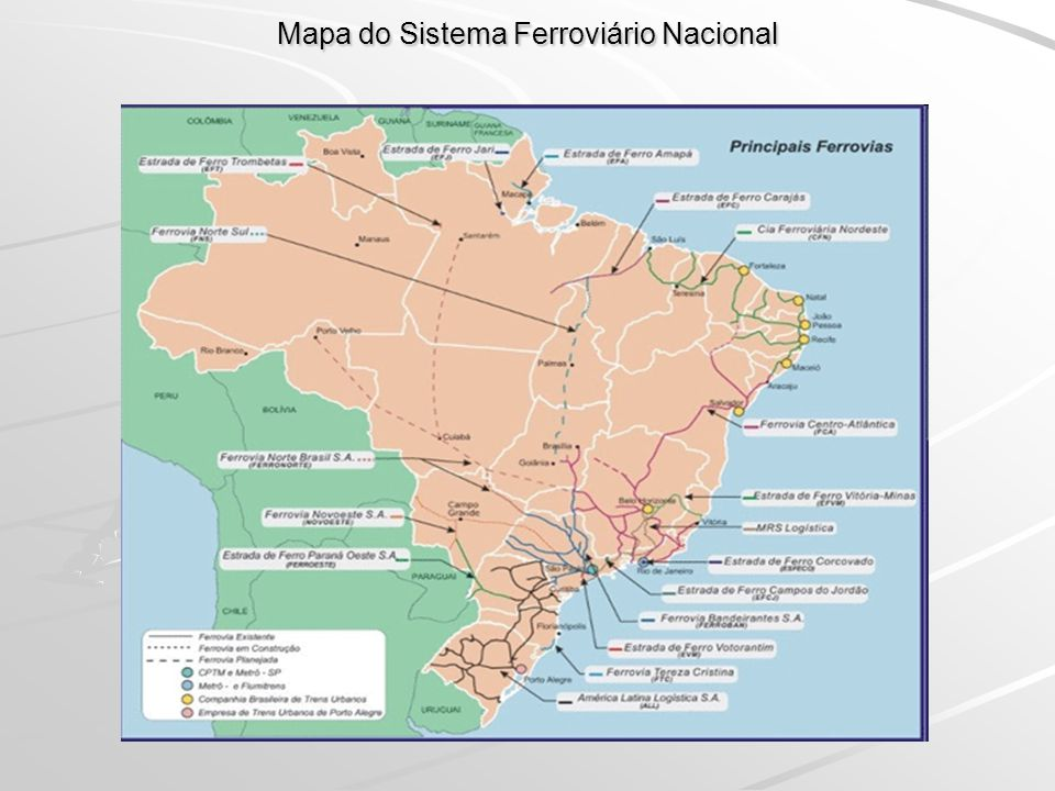 Mapa do Sistema Ferroviário Nacional