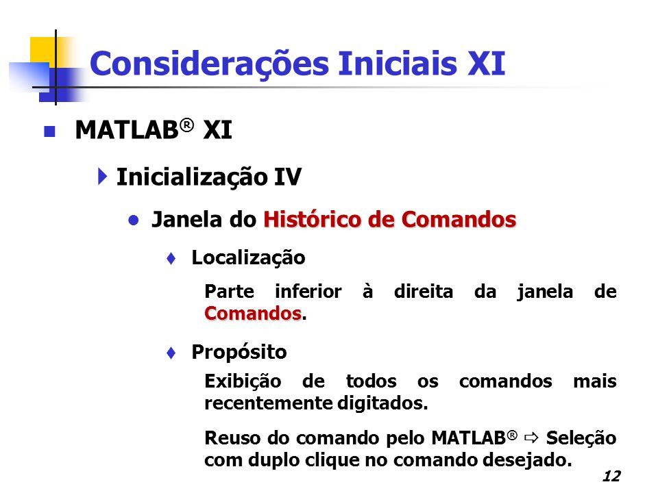 Considerações Iniciais XI
