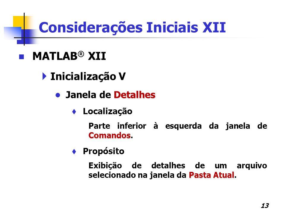 Considerações Iniciais XII