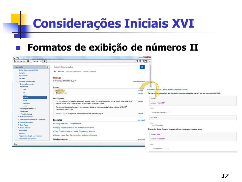 Considerações Iniciais XVI