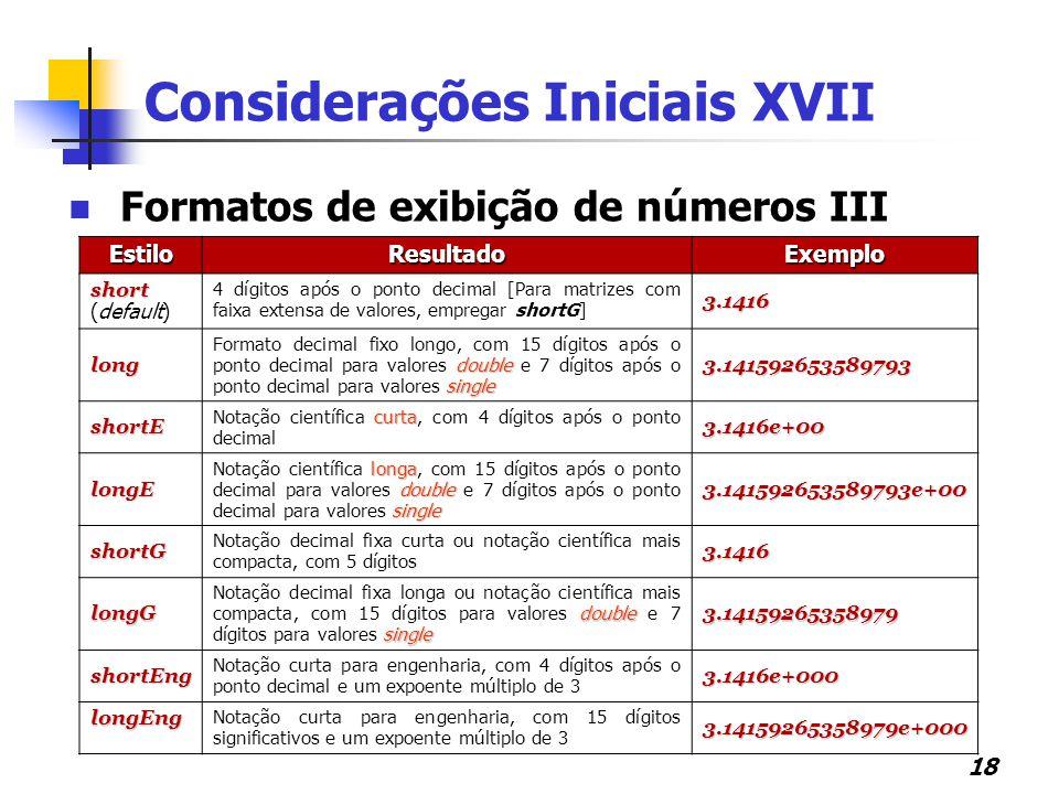 Considerações Iniciais XVII