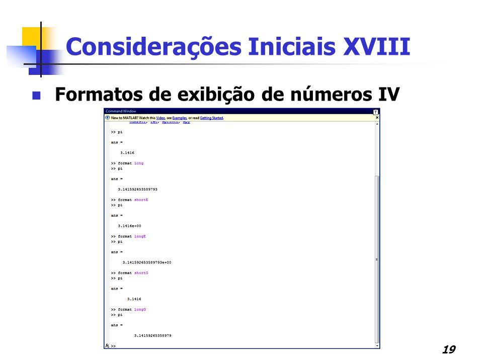 Considerações Iniciais XVIII