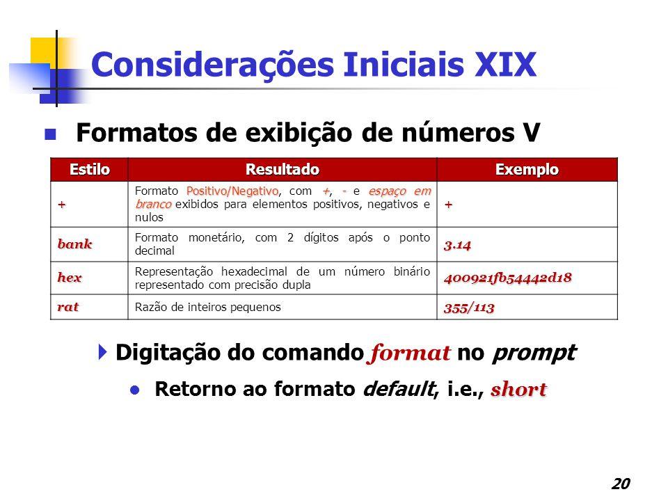 Considerações Iniciais XIX