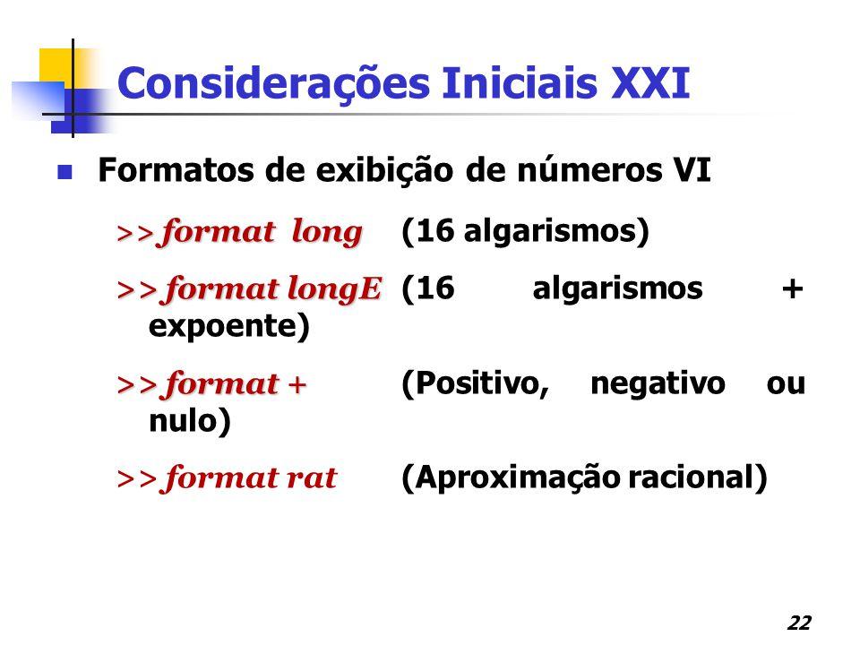 Considerações Iniciais XXI