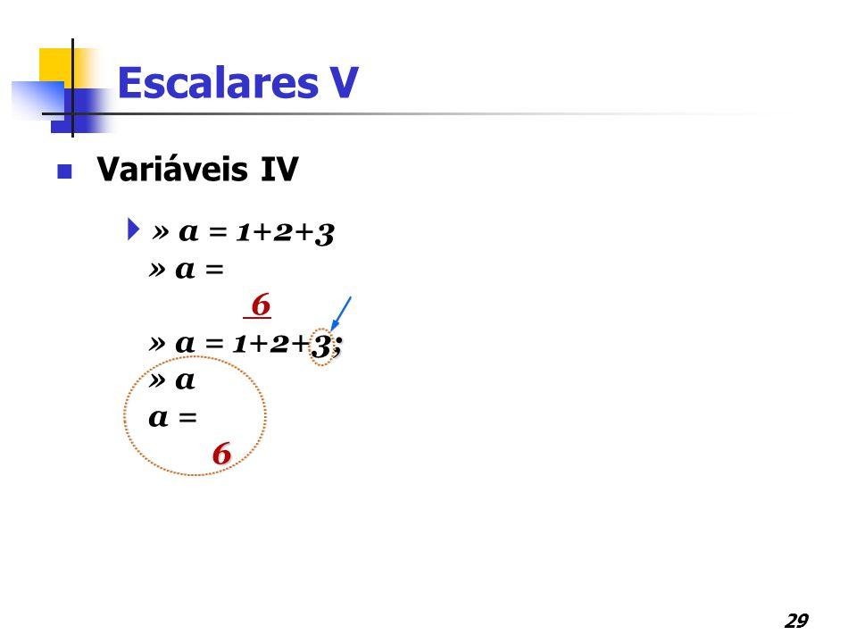 Escalares V Variáveis IV » a = 1+2+3 » a = 6 » a = 1+2+3; » a a =