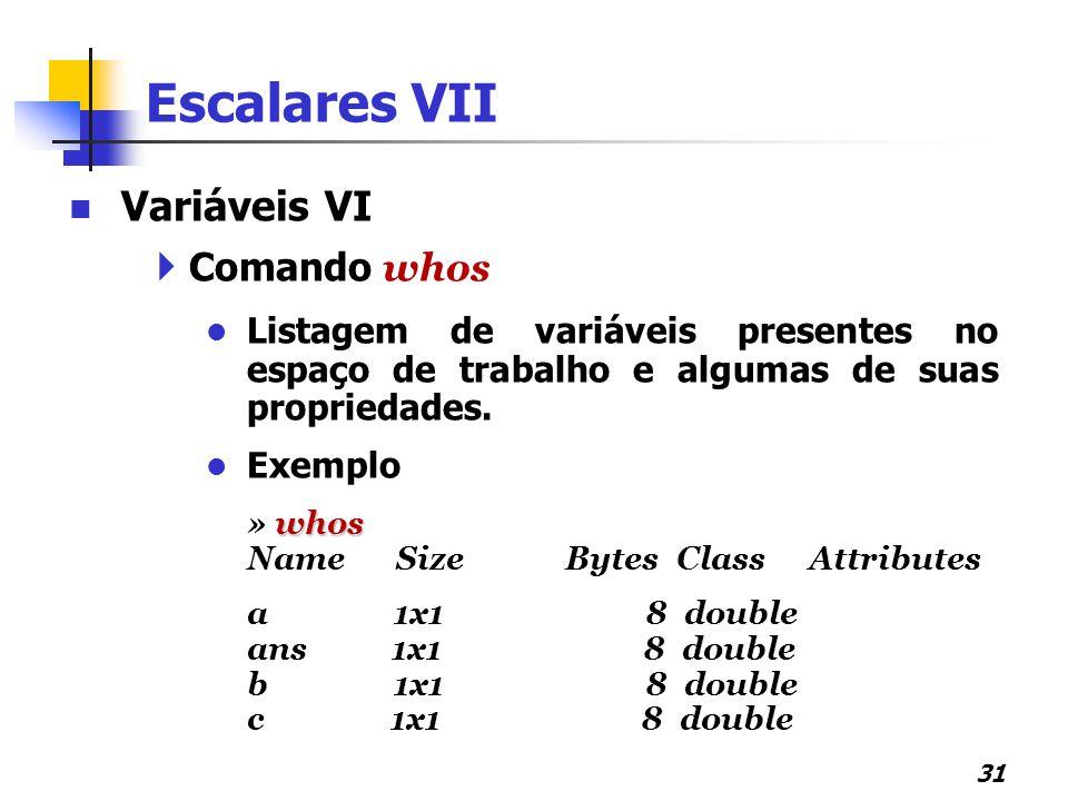 Escalares VII Variáveis VI Comando whos