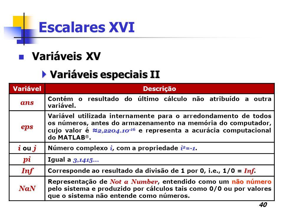 Escalares XVI Variáveis XV Variáveis especiais II ans eps i ou j pi