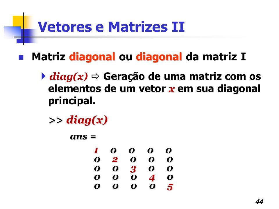 Vetores e Matrizes II Matriz diagonal ou diagonal da matriz I