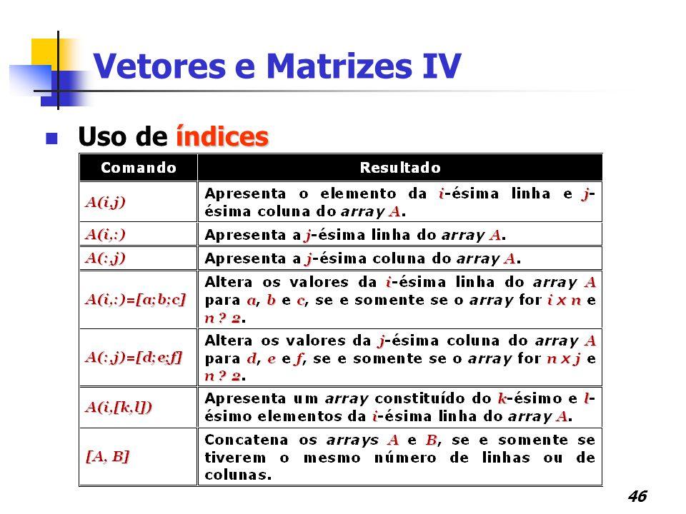 Vetores e Matrizes IV Uso de índices