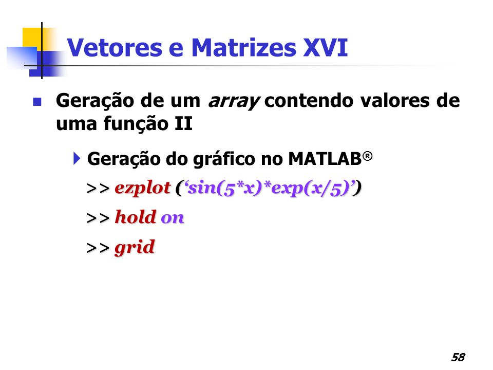 Vetores e Matrizes XVI Geração de um array contendo valores de uma função II. Geração do gráfico no MATLAB®